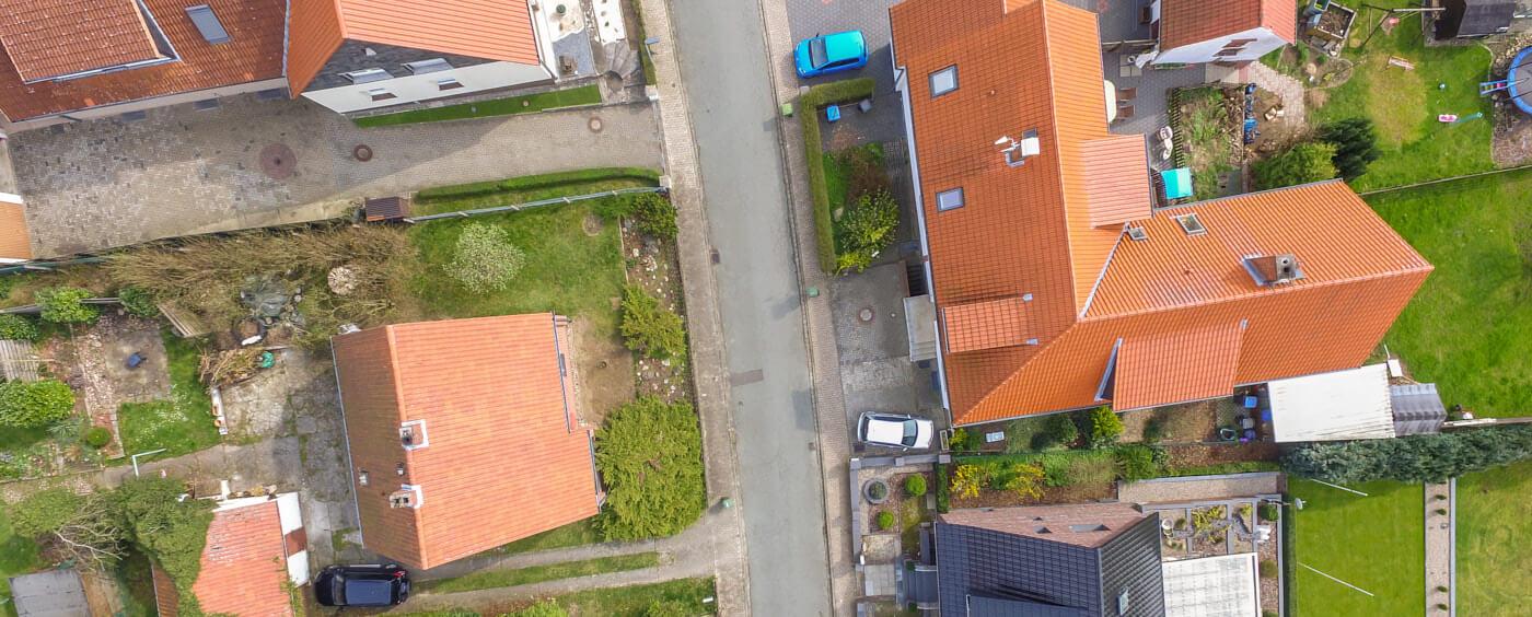 letecký pohled na zastavěnou část vesnice