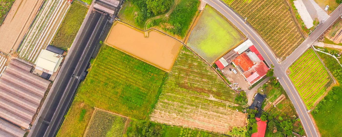 Prodej pozemku – letecký pohled na parcely